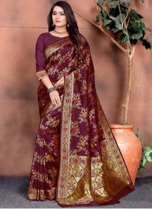 Silk Maroon Weaving Classic Saree