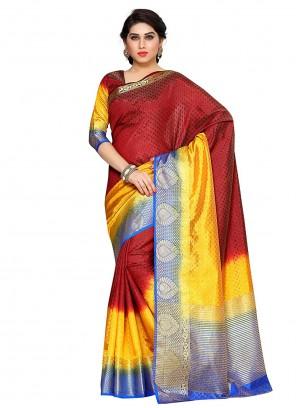 Silk Maroon Zari Traditional Designer Saree