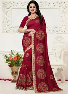 Silk Maroon Zari Work Saree