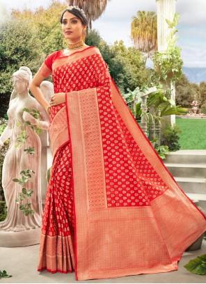 Silk Meena Designer Red Traditional Saree