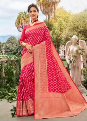 Silk Meena Traditional Saree in Hot Pink