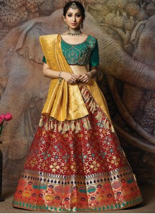 Red Silk Mehndi Designer Lehenga Choli
