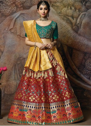 Red Silk Mehndi Designer Lehenga Choli