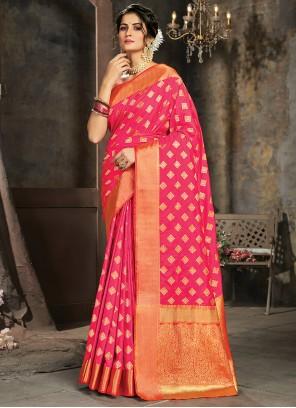Magenta Silk Mehndi Trendy Saree