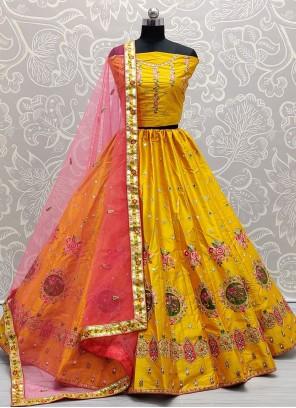 Yellow Silk Mirror Lehenga Choli