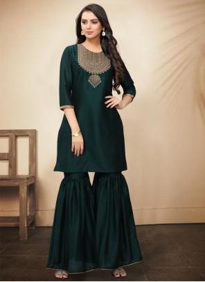 Silk Moti Green Trendy Palazzo Suit