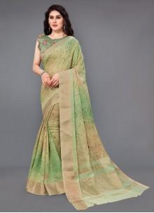 Silk Multi Colour Digital Print Classic Saree