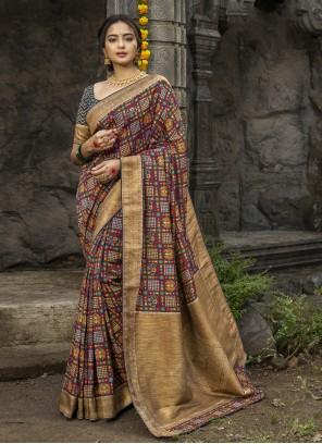 Silk Multi Colour Digital Print Designer Traditional Saree