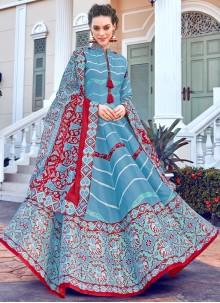 Silk Multi Colour Digital Print Trendy Gown