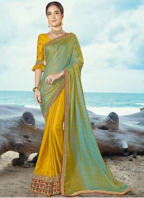 Silk Multi Colour Embroidered Classic Saree
