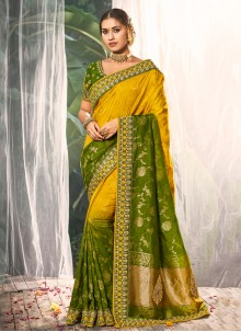 Silk Multi Colour Embroidered Traditional Saree