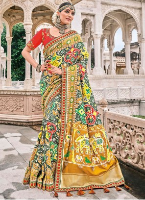 Silk Multi Colour Patch Border Bollywood Saree