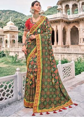 Silk Multi Colour Patch Border Contemporary Saree