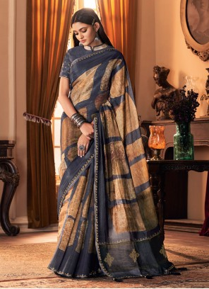 Silk Multi Colour Printed Designer Traditional Saree