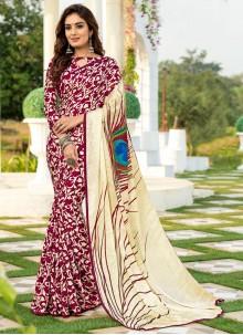 Silk Multi Colour Printed Saree