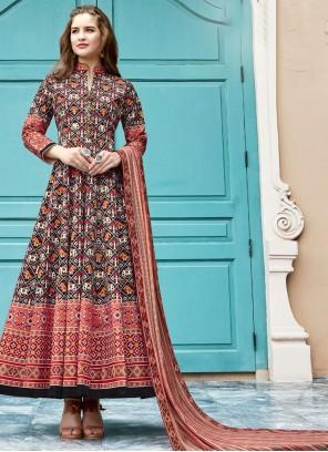 Silk Multi Colour Trendy Anarkali Salwar Kameez