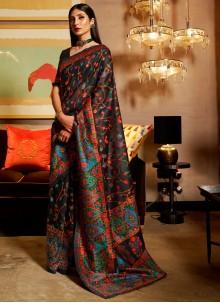 Silk Multi Colour Weaving Trendy Saree
