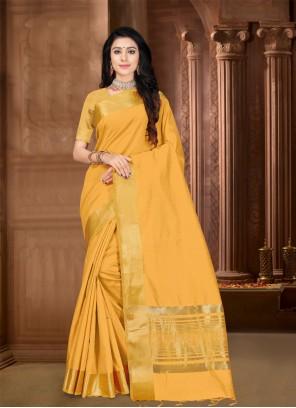 Silk Mustard Border Designer Saree