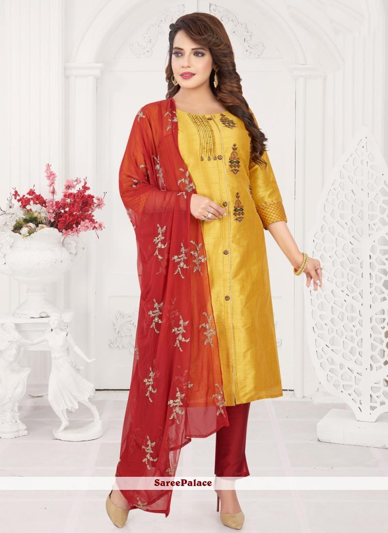 Silk Mustard Designer Salwar Suit