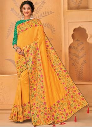 Silk Mustard Embroidered Designer Traditional Saree
