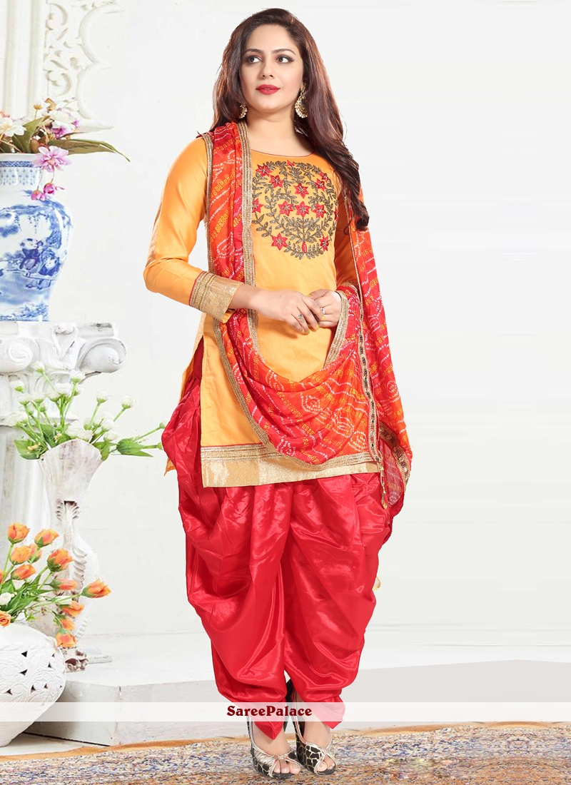 Silk Mustard Thread Work Punjabi Suit