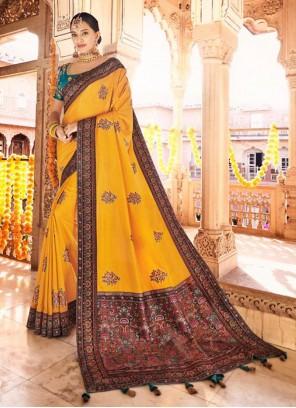 Silk Mustard Traditional Designer Saree