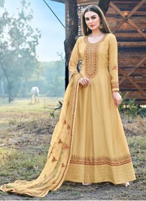 Silk Mustard Trendy Salwar Kameez