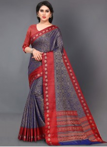 Silk Navy Blue and Red Woven Casual Saree