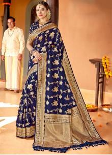 Silk Navy Blue Classic Saree