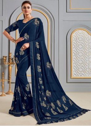 Silk Navy Blue Contemporary Saree