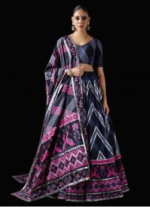 Silk Navy Blue Designer Lehenga Choli