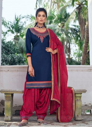 Silk Navy Blue Designer Patiala Suit