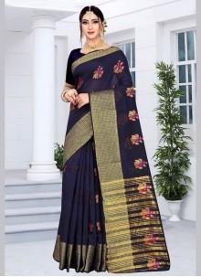 Silk Navy Blue Designer Saree