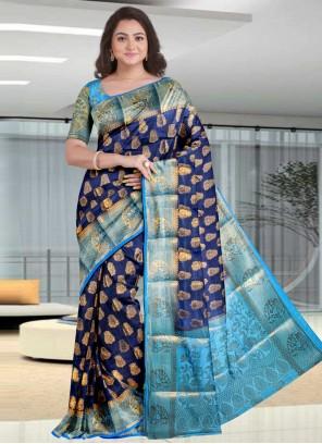 Silk Navy Blue Designer Traditional Saree