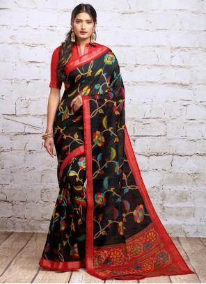 Silk Navy Blue Digital Print Traditional Saree