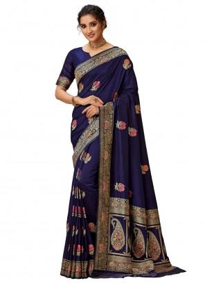 Silk Navy Blue Embroidered Contemporary Saree