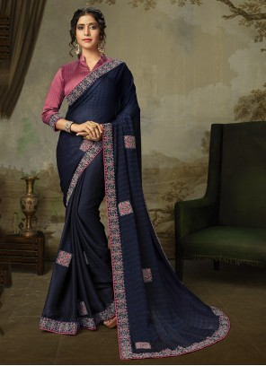 Silk Navy Blue Embroidered Traditional Saree