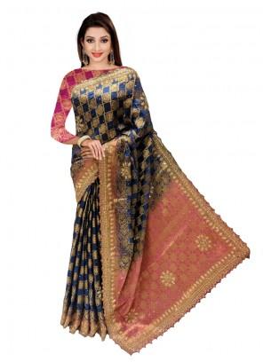 Silk Navy Blue Handwork Classic Designer Saree
