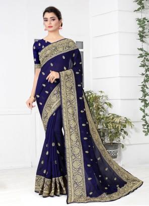 Silk Navy Blue Traditional Designer Saree