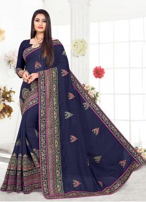 Silk Navy Blue Trendy Saree