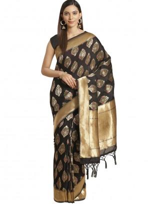Silk Navy Blue Weaving Designer Saree