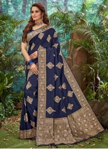 Silk Navy Blue Weaving Trendy Saree