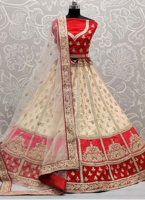 Silk Off White and Red Embroidered Lehenga Choli