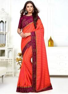 Silk Orange and Pink Classic Saree