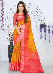 Silk Orange and Red Saree