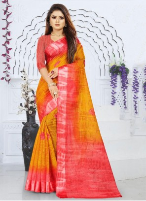 Silk Orange and Red Saree