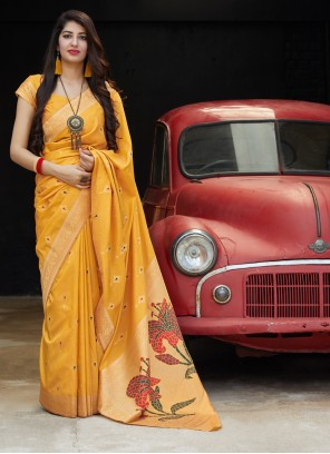 Silk Yellow Classic Saree