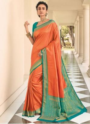 Weaving Zari Silk Orange Classic Saree