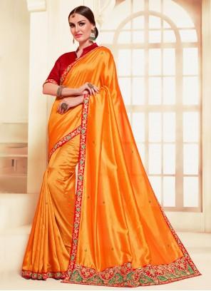 Silk Orange Contemporary Saree