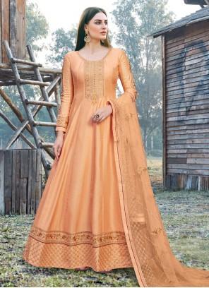 Silk Orange Embroidered Designer Salwar Kameez